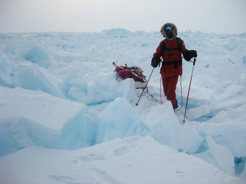 Almost at the pole, the Arctic ice threw a field of junky rubble at us one last time, making skis difficult to wear.