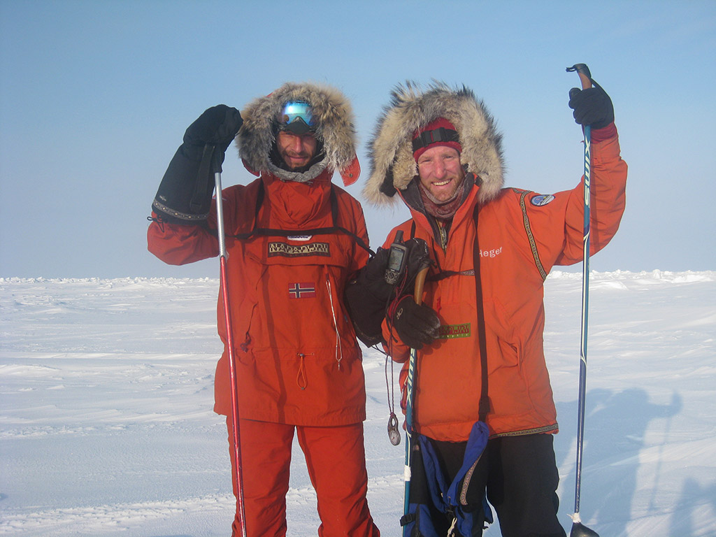 After five weeks and an estimated 400 miles on foot (factoring drift) Sebastian and Keith stand at the North Pole on April 26th, 2009.